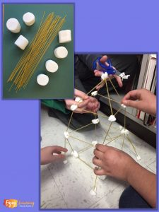 In this STEM challenge, kids build towers using spaghetti noodles and marshmallows.
