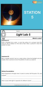 In this set of hands-on light activities, kids explore color. They shine flashlights on prisms, CDs, and bubbles to make rainbows. Then they respond on corresponding lab sheets.