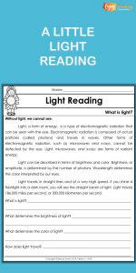 This light reading passage and questions correspond to a set of hands-on science activities for students in third grade, fourth grade, and fifth grade.