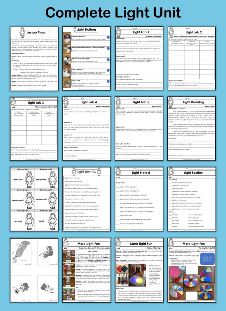 This complete light unit includes lesson plans, hands-on activities, flashcards, review, assessment, and more.