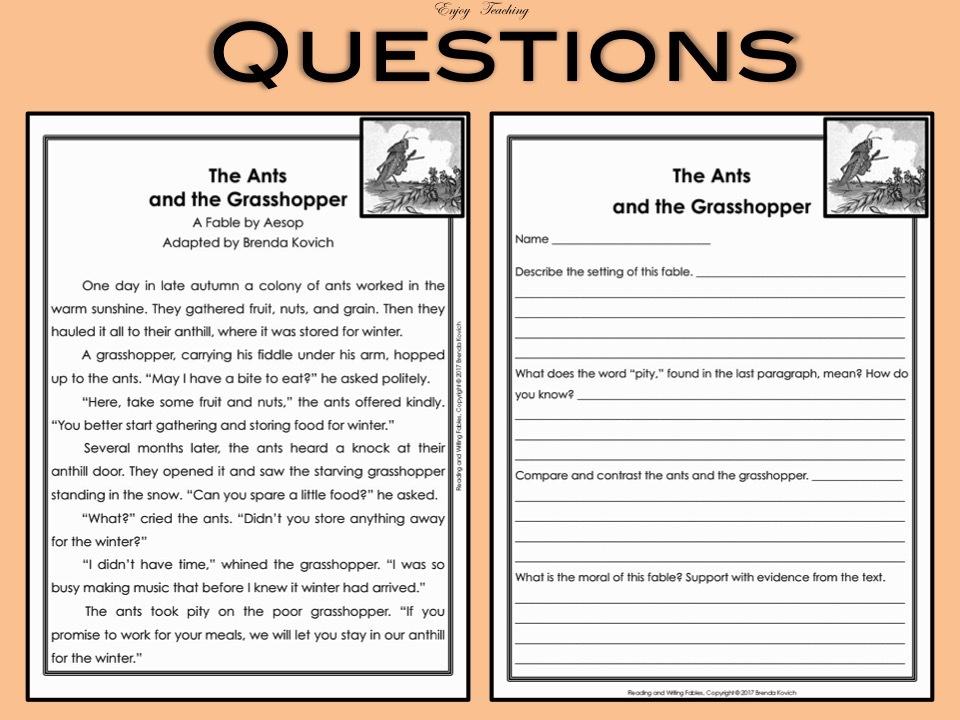 Teaching Fables - Reading, Writing, and Speaking Activities ...