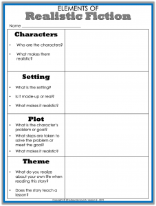 Teaching Realistic Fiction Worksheet 1
