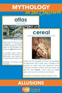 Use these posters to teach allusions to Greek myths. Your fourth grade students will learn 40 new words, and you'll address RL.4.5.