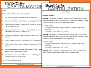 Sample Capitalization Worksheet and Activities