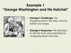 "In ""George Washington and the Hatchet,"" consider George's challenge: his father was angry that he chopped down the cherry tree. Then consider his response: telling the truth. This helps establish the theme of the story."