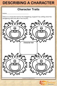 """As fourth grade students read """"The Beginning of the Armadillo,"""" they note what the hedgehog says and does on this sheet. Then they use it to determine a character trait. RL.4.3"""