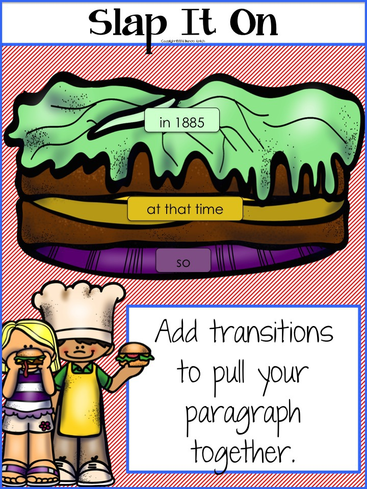 When using the hamburger analogy for writing paragraphs, ask students in third grade, fourth grade, and fifth grade to use transitions to pull their paragraphs together. It's sort of like slapping on some condiments.