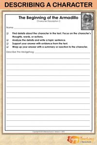 Guided response sheets are perfect for students who are just learning to write constructed responses. This page lists the steps for fourth grade students to describe a character. RL.4.3