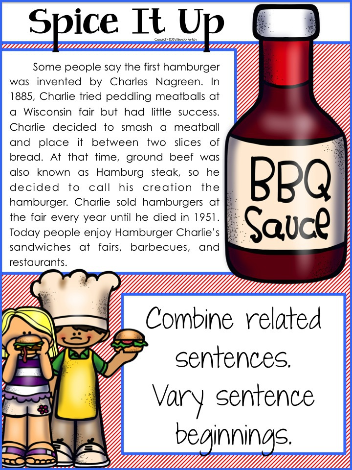 Use the hamburger analogy to improve paragraph writing in third grade, fourth grade, and fifth grade. To spice up writing, combine related sentences and vary sentence beginnings.