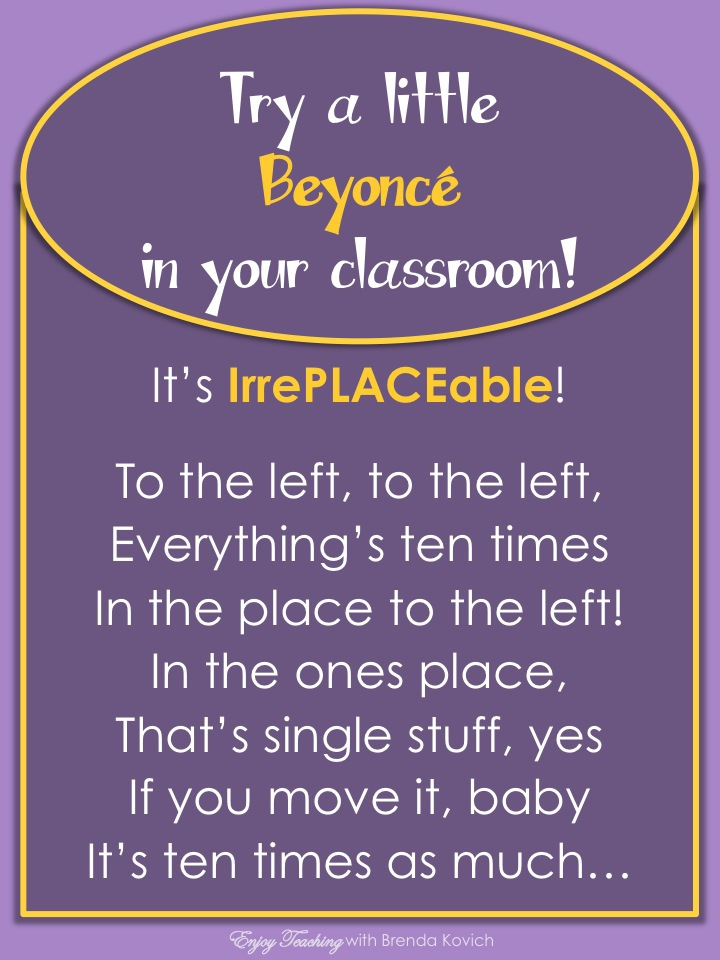 Help your fourth grade students understand that a digit in one place represents ten times what it represents in the place to its right. How? Bring in Beyonce! #4.NBT.A.1