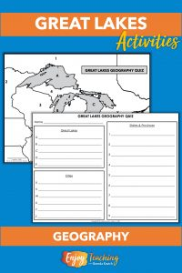 Fourth and fifth grade students learn about the geography of the Great Lakes. They identify and spell each lake, state, and province.