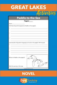 Reading Paddle-to-the-Sea by Holling teaches fourth and fifth grade kids about the Great Lakes, as well as figurative language and how images support text.