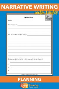 To begin your narrative writing unit, ask fourth grade students to write fables. With the first planning sheet, they choose a moral, develop plot and characters.