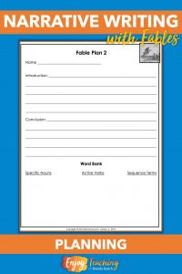 Use this planning sheet to get fourth graders to use good beginnings, endings, and word choice for their fables.