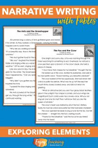 "Before your fourth grade students begin writing fables, explore the elements. First, ask them to read ""The Ants and the Grasshopper"" and ""The Fox and the Crow."" Instead of explaining the elements, let kids discover them on their own."