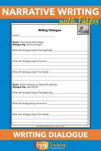 This worksheet helps fourth grade students practice writing dialogue.