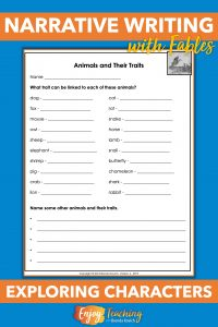 Before writing fables, ask your fourth grade students to explore character traits.
