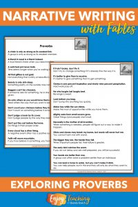 This list of proverbs teaches fourth graders about American adages. It also helps them select morals when writing fables.