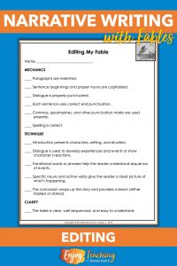 Use this editing sheet to let fourth grade students self-check or peer-edit their fables.