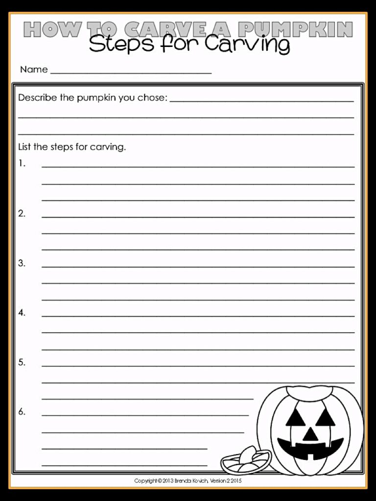 Ask your third grade or fourth grade students to list steps for carving a pumpkin. It's the perfect basis for a thorough informative paragraph.