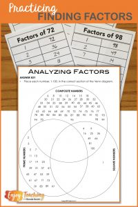 Use factor cards! They help kids determine factors and share with others. When you're finished, ask your fourth and fifth grade students to sort composite numbers, square numbers, and prime numbers in a Venn diagram.
