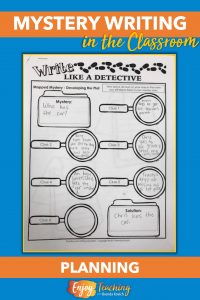To plan mystery writing, use a flow chart. Ask your fourth grade and fifth grade students to plot the problem, clues, red herring, and solution.