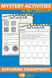 Let your third, fourth, and fifth grade students try fingerprinting during your mystery unit. Kids love detective activities!