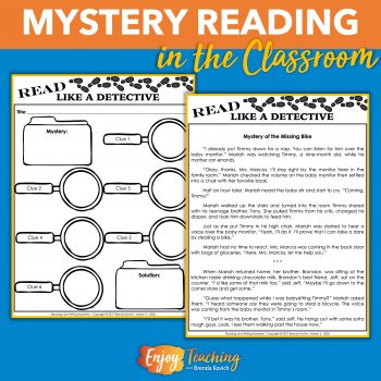 Scaffold mystery reading instruction with inference activities, short stories, and novels.