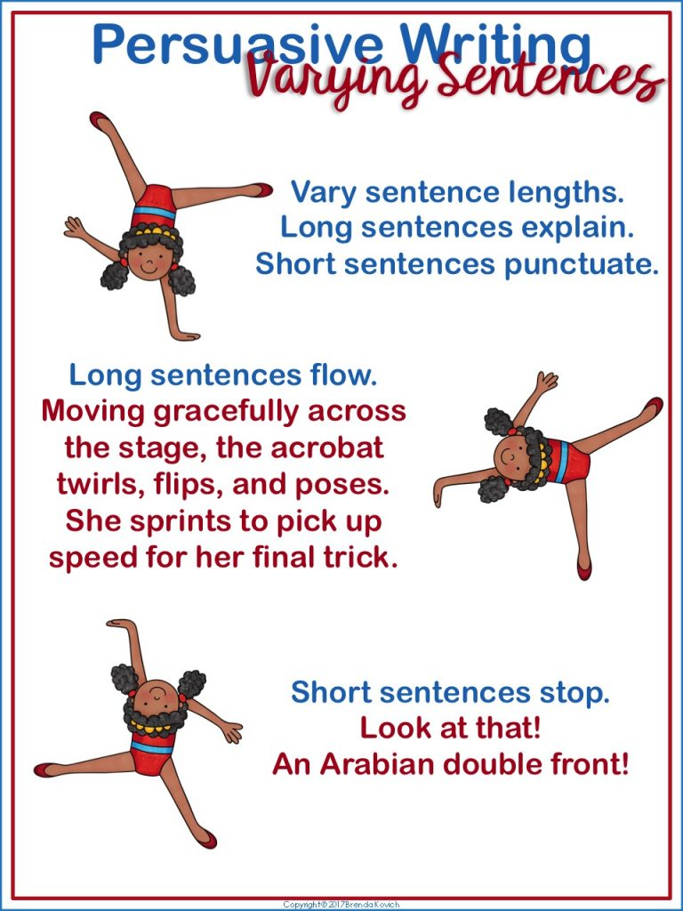 Add some punch to persuasive writing! Even kids in third grade, fourth grade, and fifth grade can vary sentence lengths for effect.