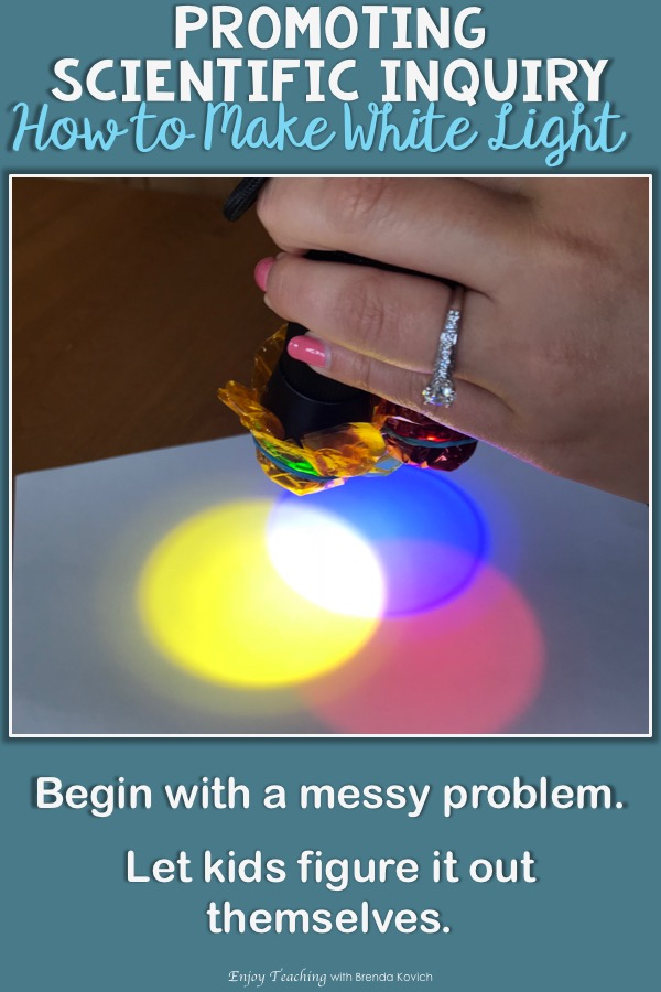 Ask your third grade, fourth grade, and fifth grade students to use inquiry in science. In this light activity, kids figure out how to blend various colors to make white light.