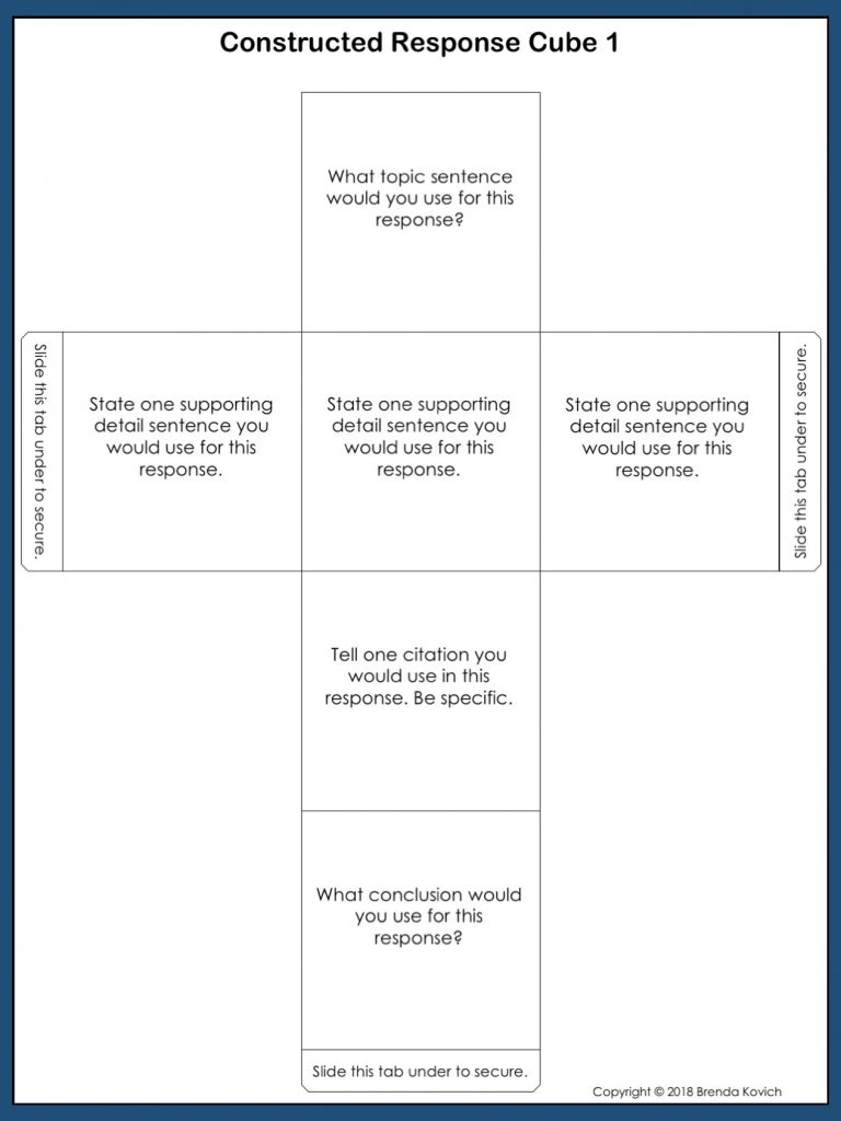 Constructed Response Cube Template 1
