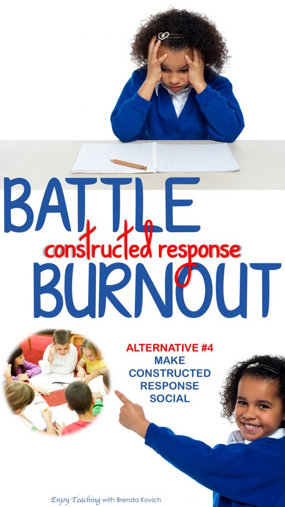 Are your fourth grade students burnt out on constructed response? As they answer questions, let them work together. Collaboration really improves their answers. #RL.4.1