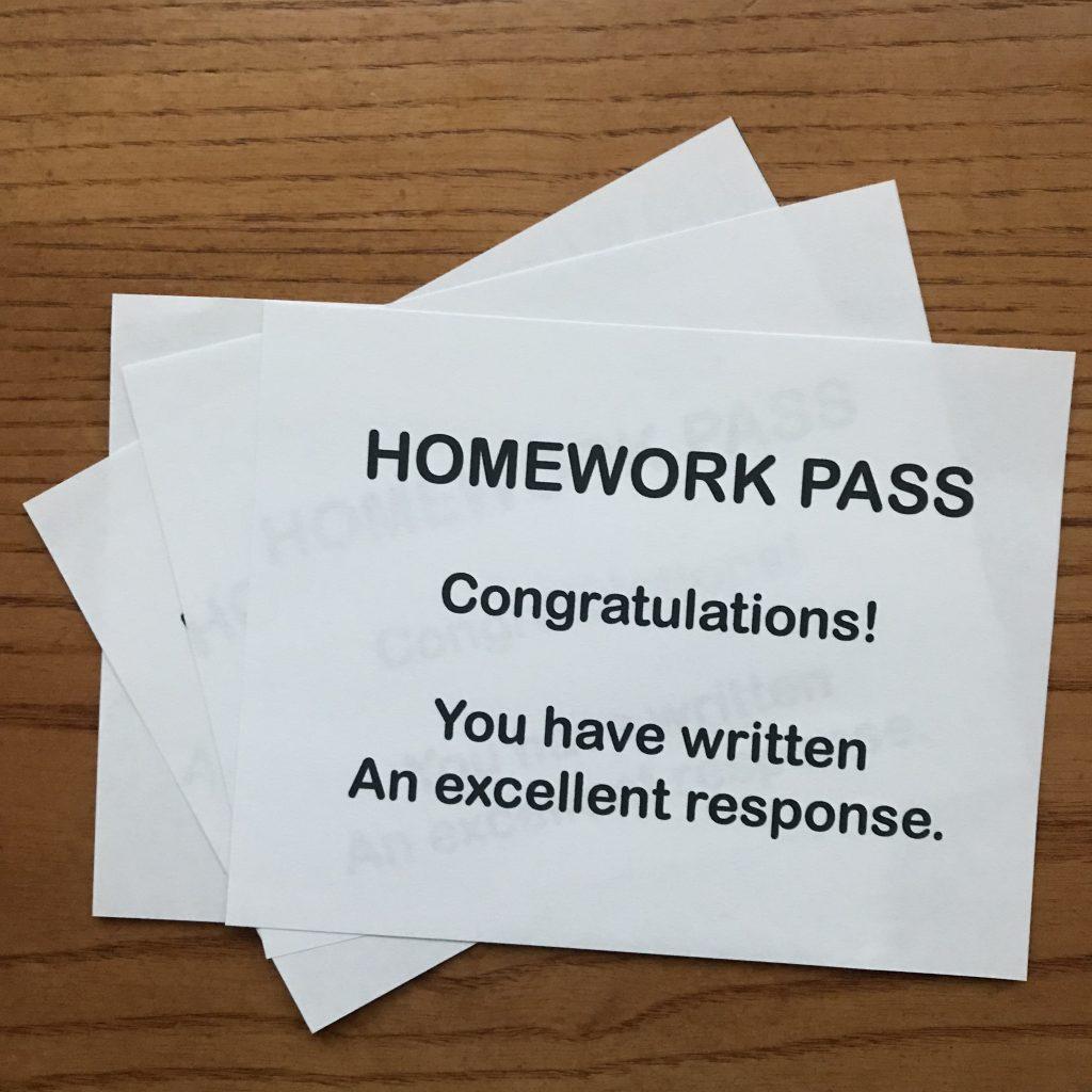 Classroom Contests - Homework Pass