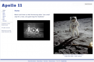 Learning with Google Sites - Apollo 11 Website Home