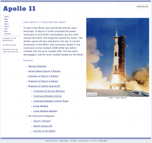 Learning with Google Sites - Apollo 11 Website How