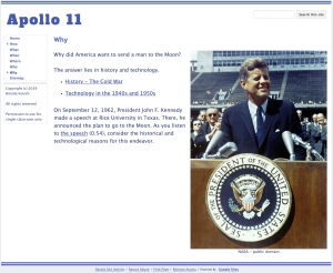 Learning with Google Sites - Apollo 11 Website Why
