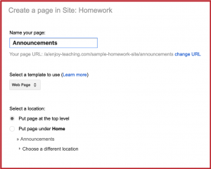 Homework with Google Sites - Announcements 1