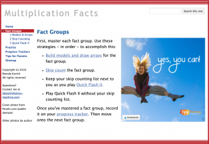 Homework with Google Sites - Fact Groups