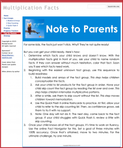 Homework with Google Sites - Parent Letter