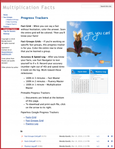 Homework with Google Sites - Progress Trackers