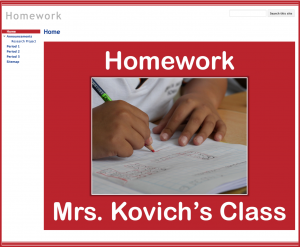 Homework with Google Sites Website