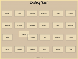 Digital Seating Chart Illustrating Movable Pieces