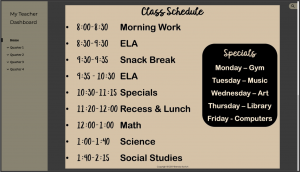 Class Schedule on Teacher Dashboard