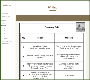 New Google Sites Unit Plans Example of Link to Blog