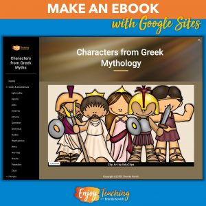 The image shows an ebook on characters from Greek mythology. Each page provides a passage about a specific god, goddess, hero, creature, etc.