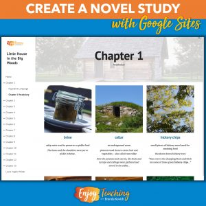Teachers use Google Sites to create novel studies. This Little House in the Big Woods website allowed me to add links, images, videos, and more. On this page a pictorial dictionary for Chapter 1 is shown.