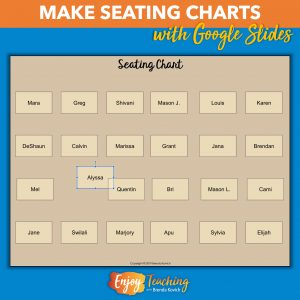 You can make a digital seating chart with Google Slides.