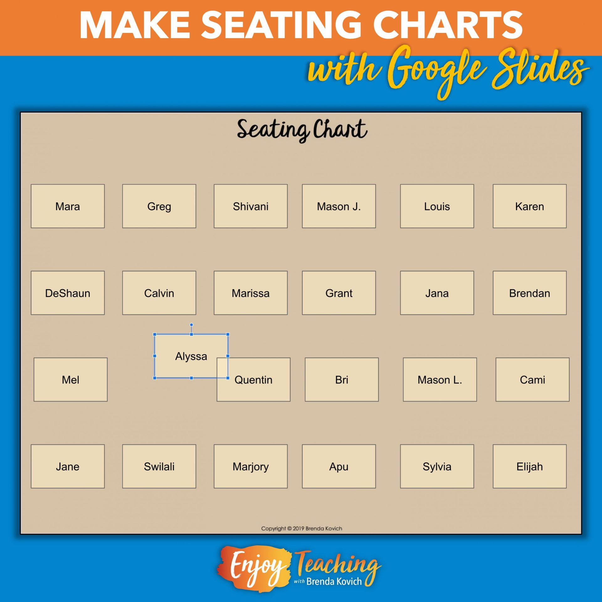 How To Make A Digital Seating Chart With Google Slides Make seating chart online free