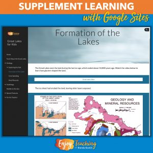 Teachers use Google Sites to supplement learning. For example, this Great Lakes website includes links to videos and interactives, text, images, and more.