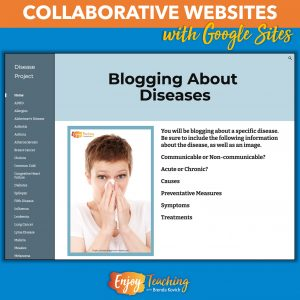 In this collaborative Site, each child completes one page to blog about a specific disease.